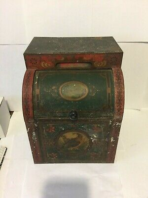 Antique Tin store counter display bin Norton Bros Chicago