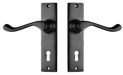 DOOR LEVERS PAIR-FREEMANTLE-SATIN BLACK-TRADCO FORGED SOLID BRASS-french handles