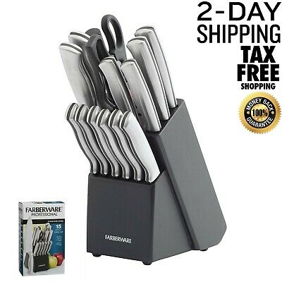 Farberware 15 Piece Artiste Collection Cutlery Knife Block Set, Stainless Steel