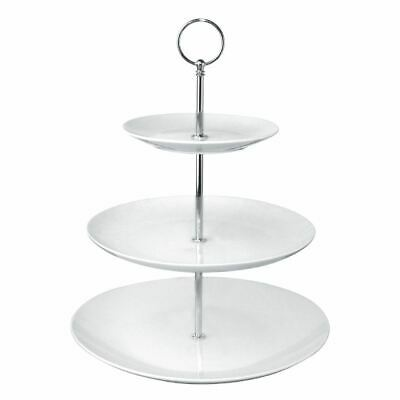 Olympia 3 Tier Cake Stand in White Made of Porcelain with Stainless Steel Rod
