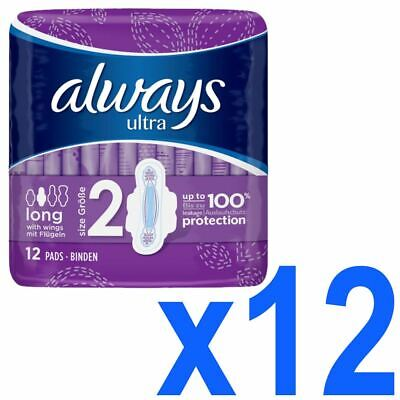 Always Ultra Long Sanitary Towels Pads Size 2 Womens Super Absorbent Pack of 144