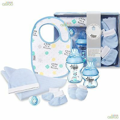 Tommee Tippee Closer to Nature Baby Bottle, Bib Hat Mitten Muslin Gift Pack Blue