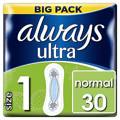 Always Ultra Normal Sanitary Towels Pads Size 1 Women Super Absorbent Pack of 30