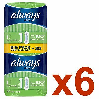 Always Ultra Normal Sanitary Towels Pads Size 1 Women Super Absorbent - 180 Pack