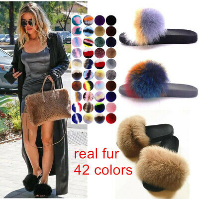 92d22d990c7e Women s Ladies Real Fur Slides Slippers Flip Flop Comfort Sliders Sandals  Shoes