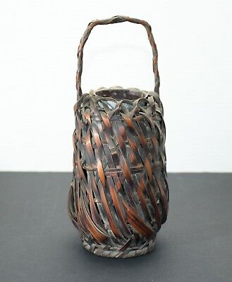 "Antique Japanese Woven Bamboo Ikebana Flower Vessel Basket 10""x4.5"" Unrestored"