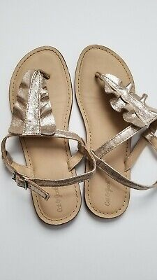 44fde9a46dce CAT & JACK Thong Sandals Naomi Gold Ruffle Summer Spring Shoes Girls Size 4