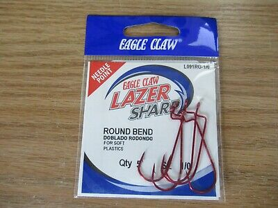 Eagle Claw Lazer Sharp Brent Chapman Round Bend Worm Hooks 2//0 3//0-15 pack