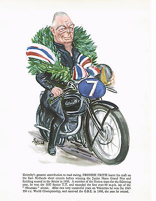 Freddie Frith ,Velocettes & Norton Motorcycle,1957 Caricature Print
