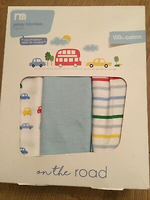 Mothercare On The Road Pack Of 3 Cosy Soft Blankets Perfect For Swaddling 🚙🚗