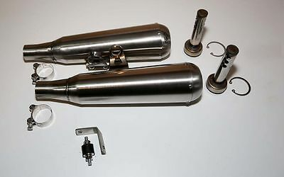 Triumph Street Twin TEC Stainless Slip On Exhaust Mufflers - Removable Baffles