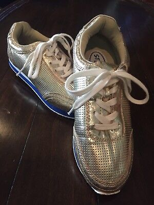ebdb4fe0df4 Stevies by Steve Madden Girls Gold Metallic Lace Up Sneakers Shoes Size 5