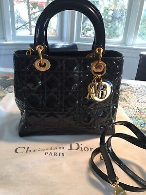 3c3fea5c793d Christian Dior Lady Dior Medium Black Patent Gold Hardware Bag - never worn