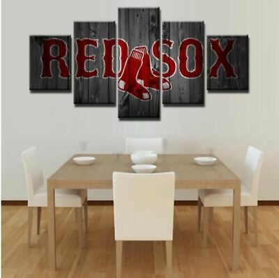 Boston Red Sox Wall Art Canvas Home Decor 5 Panel Canvas Print Painting Wall Pic