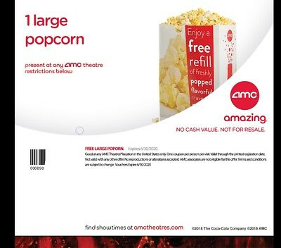 AMC  5 Large Drinks 5 Popcorns