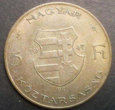 Hungary  1947 5 Forint  Silver  Coin   XF/aUNC