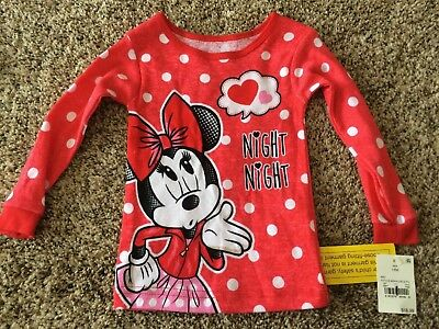 Disney Baby Girl s Minnie Mouse Long Sleeved Pajama Shirt. Red. 18 Months. c41d21962