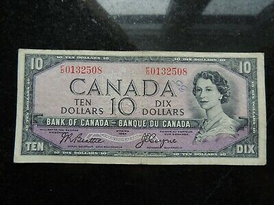 1954 BANK OF CANADA $10 TEN DOLLARS BC-32b F/D 0132508 BEATTIE COYNE DEVILS FACE