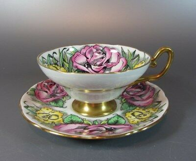 Vintage TAYLOR & KENT Red Roses and Yellow Lily Tea Cup and Saucer Set Rose