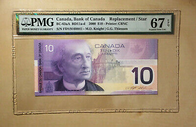 Canada BC-63aA 2000 $10 Dollars Knight | Thiessen PMG 67 EPQ Replacement / Star