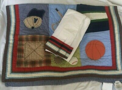 Pottery Barn Kids Sports Junior Varsity Nursery Toddler Quilt NWOT