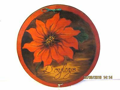 ~Vintage Pokerwork Doyley Press/Holder - Poinsettia - Gc~