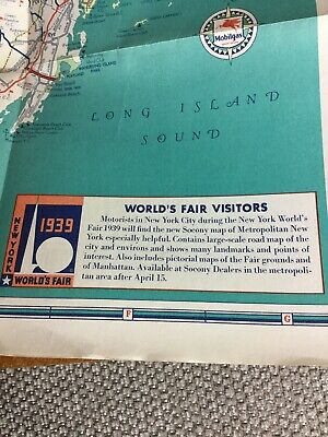 1939 Westchester & Putnam Counties New York road map Mobil Worlds Fair