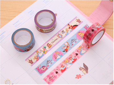 Set Of 3 - Alice in Wonderland 15mm X 5M Sticky Washi Tape DIY Scrapbook Diary