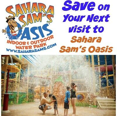 "Sahara Sam's Oasis ""WATERPARK"" Ticket Promo SAVINGS DISCOUNT Tool ~ FAST DEL!!"