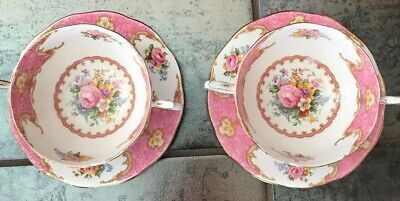 2 Royal Albert Lady Carlyle Cream Soup Bowls And Saucer 1# Quality England Rare
