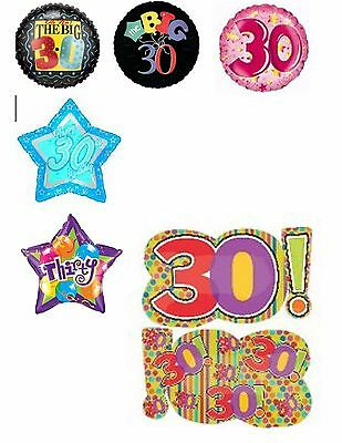 Happy 30th Birthday Balloons Party Ware Decoration Age 30 Anniversary Helium