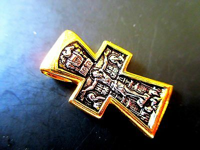 Russian Orthodox Cross Silver 925+999 Gold Pendant Icon From Jerusalem #e182