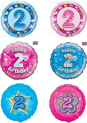 Happy 2nd Birthday Balloons Party Ware Decoration Novelty Gift Age 2 Helium