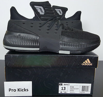 new concept 4ff54 8fd6c Adidas Dame 3 Damian Lillard Basketball Shoes Black Grey New By3206 (Size  13)