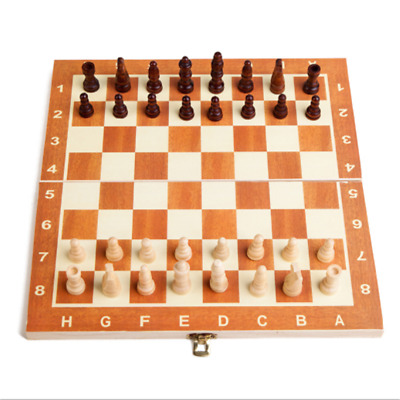 Wooden Pieces Chess Set Folding Board Box Wood Hand Carved Gift Eduational Toy