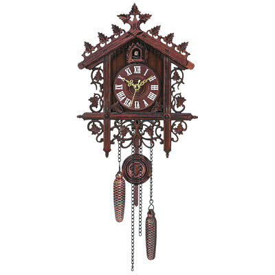 1 Pcs Retro Vintage Wood Cuckoo Wall Clock Hanging Handcraft for Living E6W4