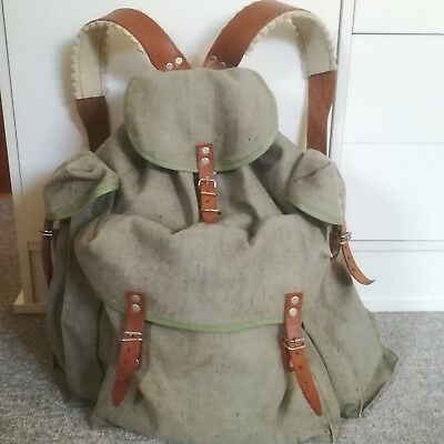 Vintage Bulgarian army / military canvas backpack / rucksack with leather straps