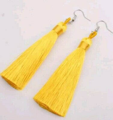 BOHO FESTIVAL KNOT TOP LONG TASSEL TASSEL MANY COLOURS EARRINGS UK SELLER