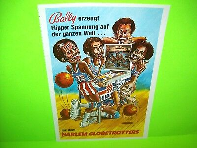 HARLEM GLOBETROTTERS Original Pinball Machine Ad German Vintage 1979 BALLY