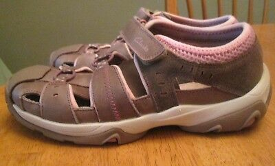 05c26daf471 CLARKS ACTIVE AIR Tan Pink Leather Sport Sandals Water Shoes Youth Girls Sz  3