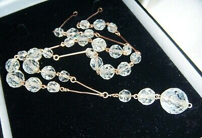 VINTAGE ART DECO JEWELLERY Clear Crystal ROLLED GOLD BRIDAL Dropper NECKLACE