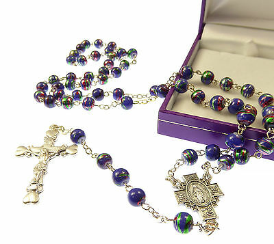 Blue purple metallic effect rosary beads in gift box Catholic good quality