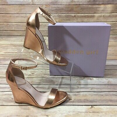 668dcee201e MADDEN GIRL Womens Size 8.5 Willow Wedges Rose Gold Sandals Open Toe Heels