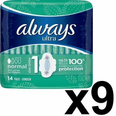 Always Ultra Normal Sanitary Towels Pads With Wings Size 1 Absorbent - 126 Pack