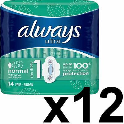 Always Ultra Normal Sanitary Towels Pads With Wings Size 1 Absorbent - 168 Pack