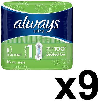 Always Ultra Normal Sanitary Towels Pads Size 1 Women Super Absorbent - 144 Pack