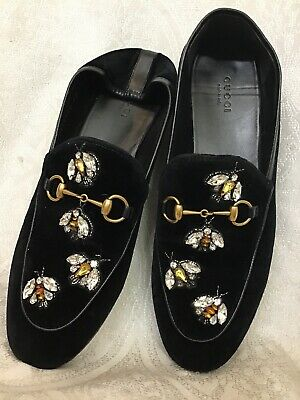81ccc3753 GUCCI HORSE BIT Loafer Black Velvet Collapsible Heel Jewel Bees Size ...