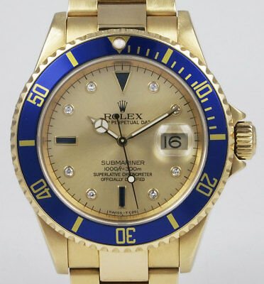 Rolex Submariner 18K Yellow Gold 16618 - Champagne Serti Diamond Dial (2006)