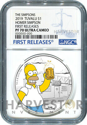 2019 The Simpsons - Homer Simpson - 1 Oz. Silver Coin - Ngc Pf70 First Releases