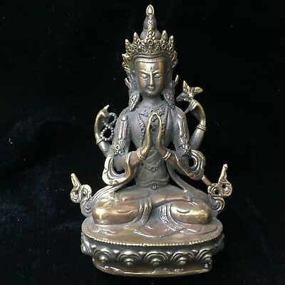 Collectible Antique Rare Chinese Old Copper Handwork Manjusri Buddisattva Statue